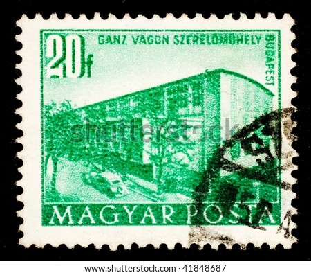 HUNGARY - CIRCA 1963: A stamp printed in Hungary shows image of Budapest architecture, series, circa 1963