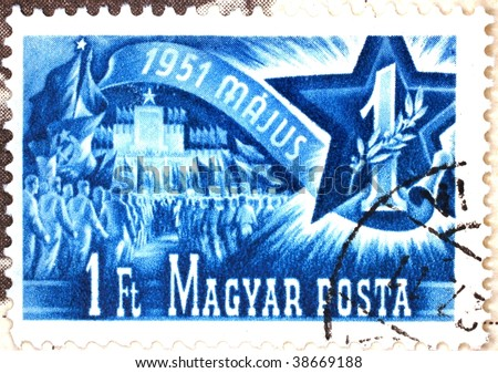 HUNGARY - CIRCA 1951: A stamp printed in Hungary shows image of May Day celebrations, series, circa 1951 - stock photo