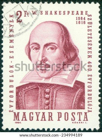 HUNGARY - CIRCA 1964: A stamp printed in Hungary shows image of William Shakespeare (1564-1616), the playwright, circa 1964 - stock photo