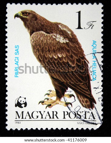 HUNGARY - CIRCA 1983: A Stamp printed in Hungary shows Imperial Eagle - Aquila heliaca, circa 1983