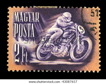 HUNGARY - CIRCA 1951: A Stamp printed in Hungary shows motorcyclist, circa 1951