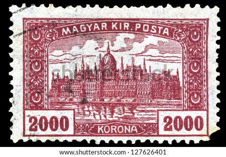 "HUNGARY - CIRCA 1924: A stamp printed in Hungary shows Parliament Building in Budapest, without inscriptions, from the series ""Parliament Building"", circa 1924"