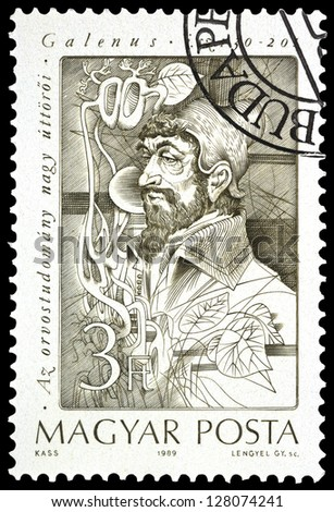 "HUNGARY - CIRCA 1989: A stamp printed in Hungary, shows portrait of Claudius Galenus (anatomist and physiologist), 130 - 201, with the same inscription, from series ""Pioneers of Medicine"", circa 1989 - stock photo"