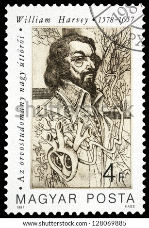 "HUNGARY - CIRCA 1987: A stamp printed in Hungary, shows portrait of William Harvey (circulation of blood), 1578 - 1657, with the same inscription, series ""Pioneers of Medicine"", circa 1987"