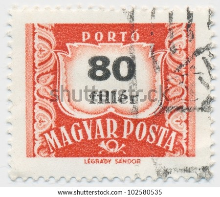 HUNGARY - CIRCA 1958: A stamp printed in Hungary shows Post Horn and number 80, circa 1958