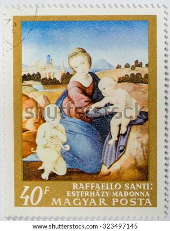 Hungary - CIRCA 1984: A stamp printed in Hungary shows Raffaello Santi: Esterhazy Madonna, circa 1984 - stock photo