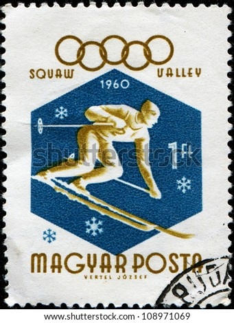 HUNGARY - CIRCA 1960: A stamp printed in  Hungary shows  Skiing, circa 1960 - stock photo