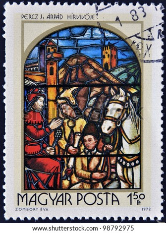 HUNGARY - CIRCA 1972: A stamp printed in Hungary shows Stained-glass Window, Prince Arpad's Messenger, by Jeno Percz, circa 1972