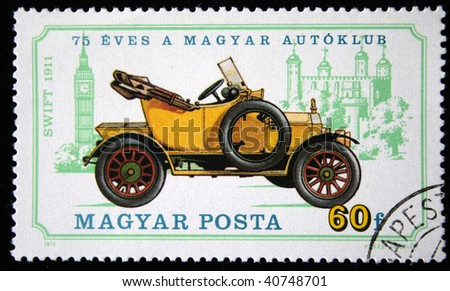 HUNGARY - CIRCA 1975: A stamp printed in Hungary shows vintage car Swift 1911 year, series honoring 75 years of Hungarian Autoclub, circa 1975