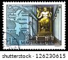"HUNGARY - CIRCA 1980: A stamp printed in Hungary shows Zeus by Phidias, Olympia, with the same inscription, from the series ""Seven Wonders of the Ancient World"", circa 1980 - stock photo"