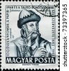 HUNGARY- CIRCA 1962: A stamp printed in Hungaryshows  Johannes Gutenberg, circa 1962 - stock photo