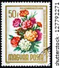 HUNGARY - CIRCA 1965: a stamp printed in the Hungary shows Bouquet of Carnations, Dianthus Caryophyllus, Flowers, circa 1965 - stock photo