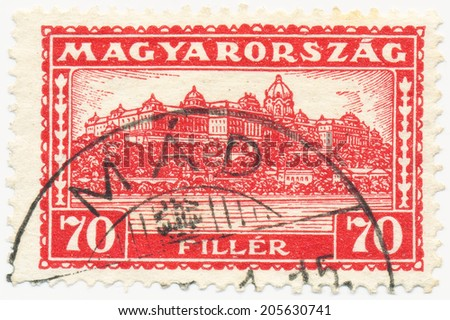 HUNGARY - CIRCA 1927: A stamp printed in the Hungary shows Palace at Budapest, circa 1927