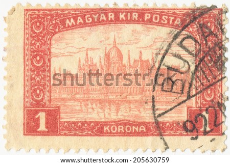 HUNGARY - CIRCA 1917: A stamp printed in the Hungary shows Parliament Building at Budapest, circa 1917 - stock photo