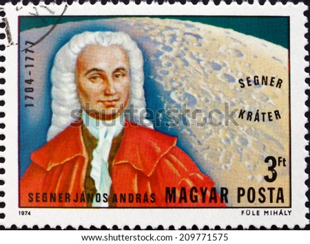 HUNGARY - CIRCA 1974: a stamp printed in the Hungary shows Segner and Segner Crater on Moon, 270th Anniversary of the Birth of Janos Andreas Segner, Naturalist, circa 1974
