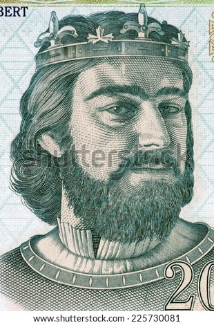 HUNGARY - CIRCA 2004: Charles I of Hungary (1288-1342) on 200 Forint 2004 Banknote from Hungary. First King of Hungary and Croatia. - stock photo
