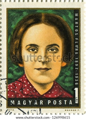 HUNGARY - CIRCA 1972: Postage stamps printed in Hungary dedicated to Flora Martos (1897-1938), Hungarian working class movement fighter, circa 1972.
