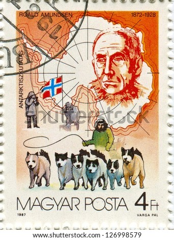 HUNGARY - CIRCA 1987: Postage stamps printed in Hungary dedicated to Roald Amundsen (1872-1928), Norwegian explorer of polar regions, circa 1987. - stock photo