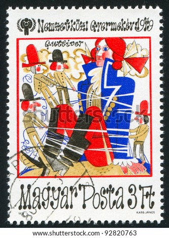 HUNGARY - CIRCA 1979: stamp printed by Hungary, shows a fairy tale scene with Gulliver, circa 1979