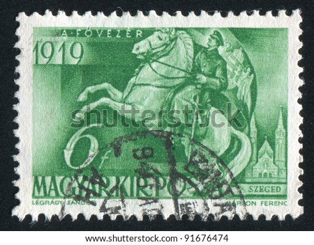 HUNGARY - CIRCA 1940: stamp printed by Hungary, shows Admiral Horthy at Szeged, circa 1940