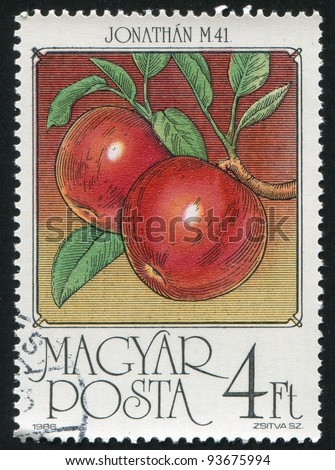 HUNGARY - CIRCA 1986: stamp printed by Hungary, shows Apples, circa 1986 - stock photo