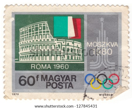 HUNGARY - CIRCA 1979: stamp printed by Hungary, shows Colosseum, Rome, Italian flag, Moscow olympic Emblem, circa 1979 - stock photo