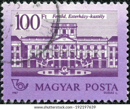 HUNGARY - CIRCA 1987: stamp printed by Hungary, shows Eszterhazy Castle, circa 1987 - stock photo