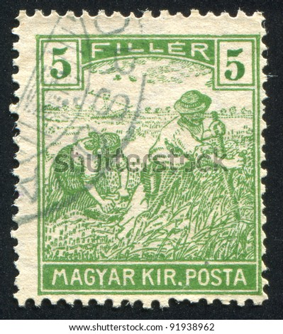 HUNGARY - CIRCA 1916: stamp printed by Hungary, shows Harvesting Wheat, circa 1916