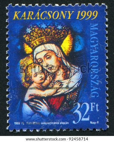 HUNGARY - CIRCA 1999: stamp printed by Hungary, shows madonna and child, circa 1999 - stock photo