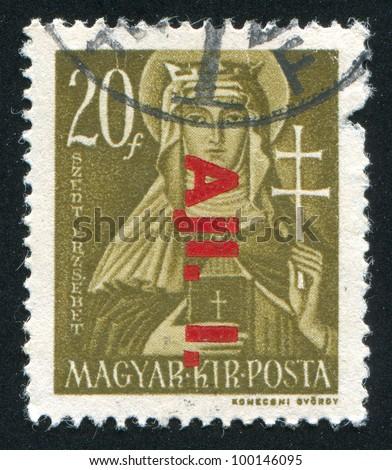 HUNGARY- CIRCA 1946: stamp printed by Hungary, shows Saint Elizabeth, circa 1946 - stock photo