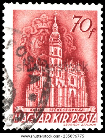 HUNGARY - CIRCA 1940: stamp printed by Hungary, shows Szekesegyhaz Castle, circa 1940