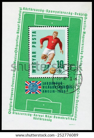 HUNGARY - CIRCA 1966: Stamp printed in Hungary celebrates Soccer world cup showing illustration of soccer players and playground, circa 1966  - stock photo