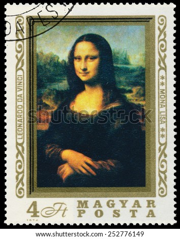 HUNGARY �¢?? CIRCA 1974: Stamp printed in Hungary shows an image of Mona Lisa or La Gioconda from Leonardo Da Vinci, circa 1974. - stock photo