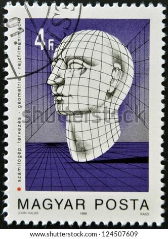 HUNGARY - CIRCA 1988: stamp printed in Hungary shows Graphic of Human Head, circa 1988 - stock photo