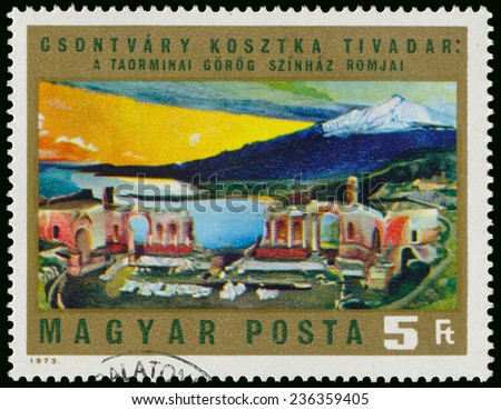 """HUNGARY - CIRCA 1973: Stamp printed in Hungary, shows Picture by Csontvary """"The ruins of the Greek Theatre in Taormina"""", with the same inscription, circa 1973  - stock photo"""