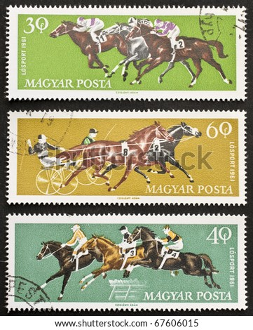 HUNGARY - CIRCA 1961: three stamps printed in Hungary shows image of  horse riding sports. Hungary, circa 1961