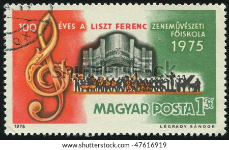 HUNGARY - CIRCA 1975: Treble Clef, Organ and Orchestra, circa 1975.