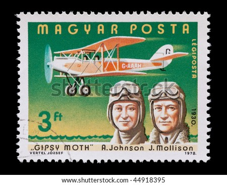HUNGARY - CIRCA 1978: vintage aviation mail stamp featuring (married) pioneering pilots Amy Johnson and Jim Mollison, circa 1978