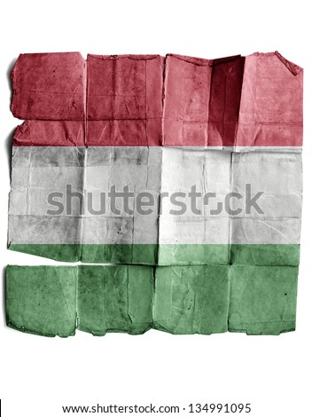 Hungary flag on old paper. - stock photo