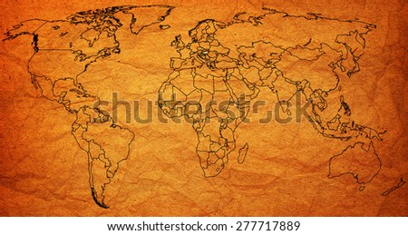 hungary flag on old vintage world map with national borders - stock photo