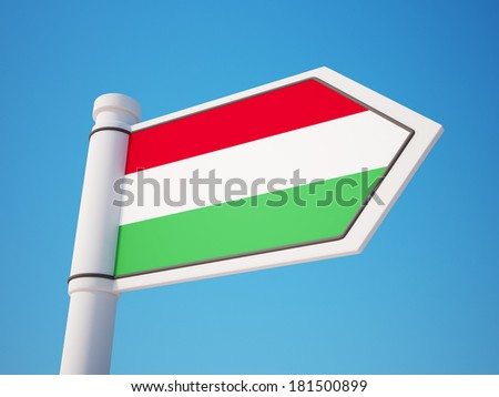 Hungary Flag Sign isolated on sky