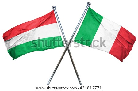 Hungary flag with Italy flag, 3D rendering