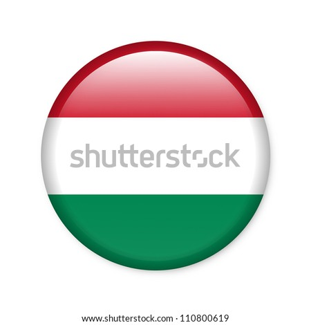 Hungary - glossy button with flag - stock photo