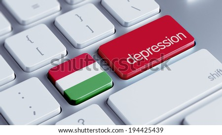 Hungary High Resolution Depression Concept - stock photo