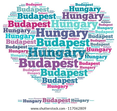 Hungary info-text graphics and arrangement concept on white background (word cloud)