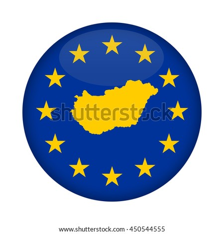 Hungary map on a European Union flag button isolated on a white background. - stock photo