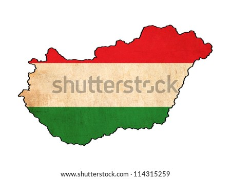 Hungary map on Hungary flag drawing ,grunge and retro flag series