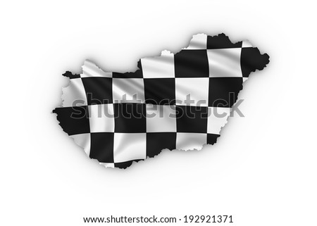 Hungary map showing a checkered flag. High quality 3D illustration. - stock photo