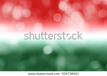 HUNGARY : National flag. Soft blurred bokeh natural background. Abstract gradient desktop wallpaper.  - stock photo