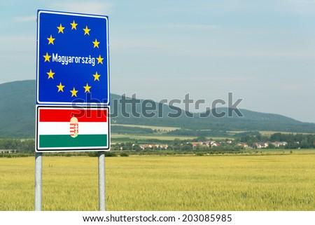 Hungary signpost on the border with Slovakia - stock photo